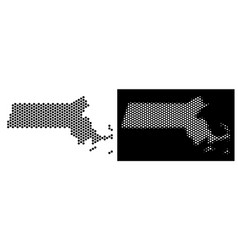 Massachusetts state map hex-tile mosaic vector
