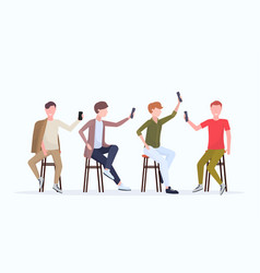 men in different poses taking selfie photo on vector image