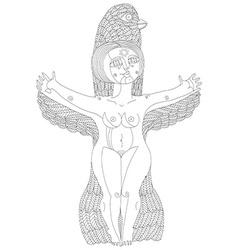 Monochrome of bizarre creature nude woman w vector