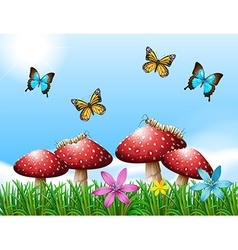 Nature scene with butterflies in garden vector