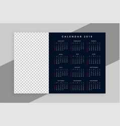 new year 2019 calendar design with image space vector image