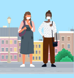 people wearing masks walk in city to protect vector image