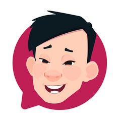 profile icon asian male head in chat bubble vector image