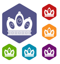 Queen crown icons set hexagon vector