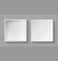 realistic box top view with shadow on transparent vector image