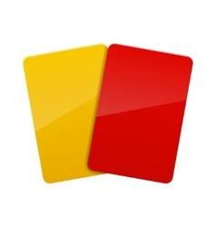 red yellow football soccer cards vector image