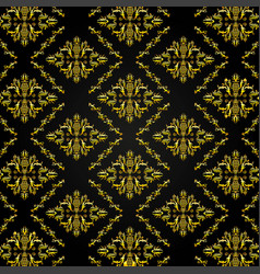 seamless golden damask pattern background vector image