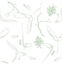 Seamless pattern with twigs seeds and acorns vector