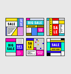 set abstract retro banners for social media vector image
