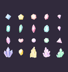 set colored crystals colorful jewelry gems vector image