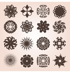 set of 16 snowflakes vector image
