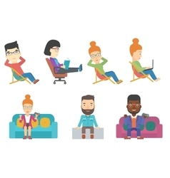 Set of business characters and tourists vector