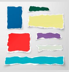Set of color torn paper pieses scrap paper vector