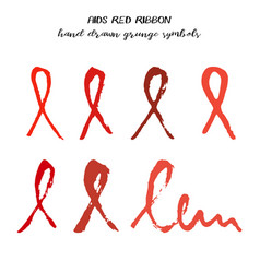 Set of red aids ribbons from brush strokes vector