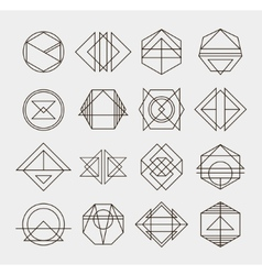Set of retro line abstract hipster monochrome vector
