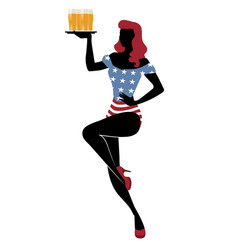 sexy redhead pinup girl carrying a tray with beer vector image