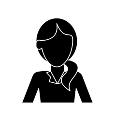 silhouette woman hair tail style formal clothes vector image