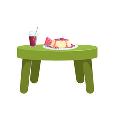 Small green table with glass of juice and a fruit vector