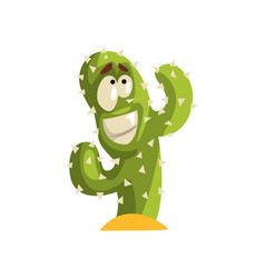 smiling cactus character succulent plant with vector image