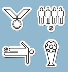 Soccer line icon set vector