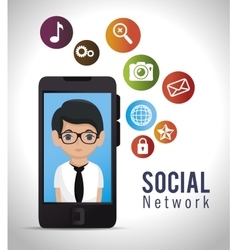 social network media d icon vector image