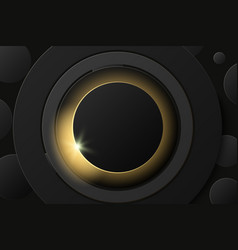solar eclipse abstract black ring on black vector image