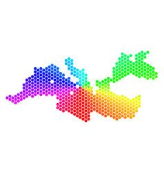 Spectrum hexagon mediterranean sea map vector