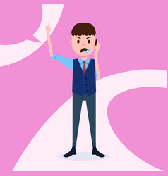 Teen boy character angry phone call male business vector