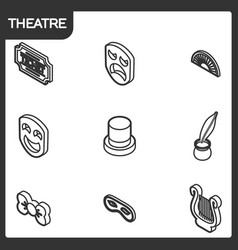 theatre outline isometric icons vector image