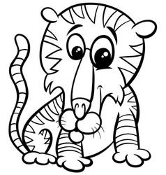 tiger animal character cartoon coloring book page vector image