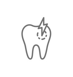 Tooth with caries toothache sick dental line vector