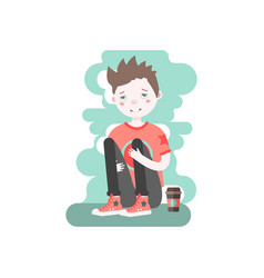 Upset caucasian boy sitting and hugging his knees vector