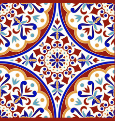 vintage tile pattern with colorful patchwork vector image