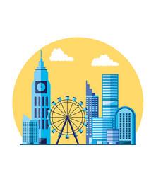 Wheel panoramic with cityscape scene vector