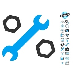 Wrench And Nuts Icon With Air Drone Tools Bonus vector