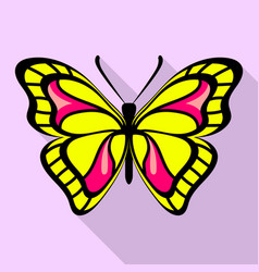 yellow butterfly icon flat style vector image