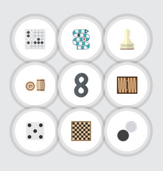 Flat icon play set of chequer pawn chess table vector