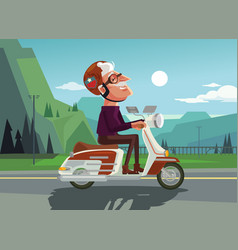 happy smiling old man character drive scooter vector image vector image