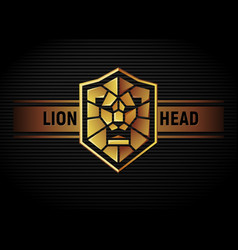 lion head shield logo vector image