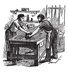 piano making the polishing room vintage vector image