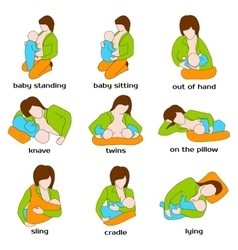 Poses for breastfeeding Woman breastfeeding a vector image vector image