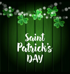 st patricks day green wooden background with vector image
