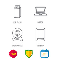 Web camera usb flash and notebook laptop vector
