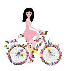 woman bike2 vector image vector image