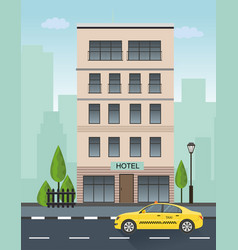 hotel building and taxi service vector image vector image