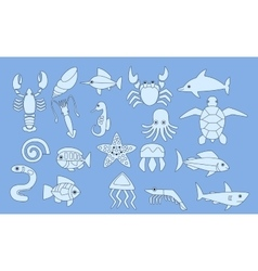 set of sea animals icons vector image