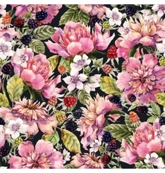 Watercolor peony and berry pattern vector image