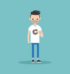 young bearded man chewing a chocolate donut flat vector image