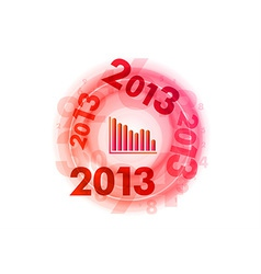abstract circle numbers red down 2013 vector image
