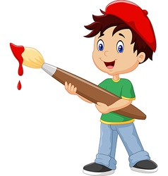 Little boy painting with paintbrush vector image vector image